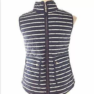New Savile Row XL puffer vest navy blue stripe
